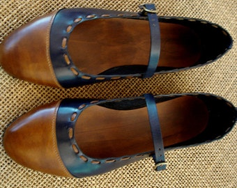 LEATHER HANDMADE SHOES / Leather Handmade / Ballerina / Shoes Handmade / Shoes Leather / Accessories  / Sand and Blue Navy Leather Shoes.