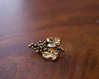 Vintage Grape Bunch With Leaves Brooch