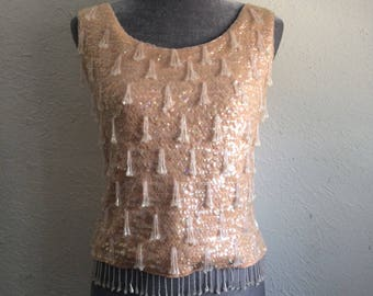 Vintage 1960's beaded knitted top