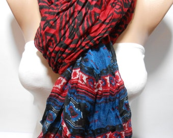 Navy blue red tribal scarf Aztec scarf crinkle scarf lightweight scarf Women Fashion Accessories Gift Ideas For Her Christmas Gift For Her