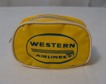 Vintage Western Airlines Yellow Vinyl Pouch Zippered Miniature