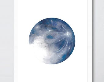 Moon watercolour painting print (Blue)
