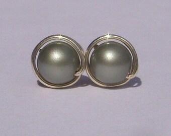Powder Green Pearl Stud Earrings (8mm), Swarovski Pearl Stud Earrings, Wire Wrapped Sterling Silver Stud Earrings, Green Stud Earrings