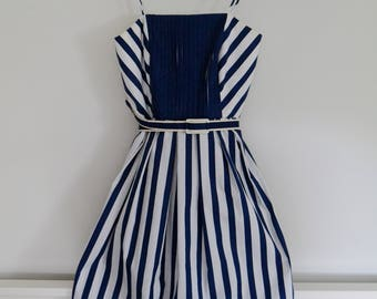 Vintage 1980's Navy and White Striped Dress - Act I New York
