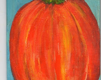 Pumpkin acrylic painting, 4 x 6 canvas panel,  original vegetable artwork