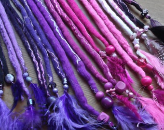 Hand Felted Dread Extensions,Feathers, Beads, Merino Wool & Tencel. Luxury Dreads .All Colours Available .