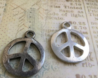 Hand Cast Pewter Peace Sign Pendant Made in USA  Choice of Finish