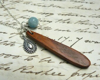 Boho Charm Cluster Necklace Sterling Silver Wood Gemstone Aquamarine Charms Jewelry