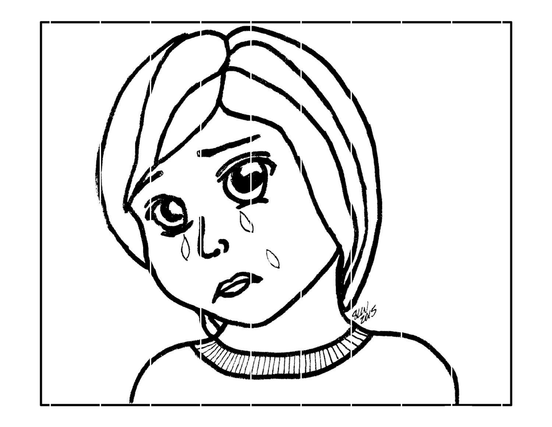 Färbung Seite traurig Kind Manga Digital Download
