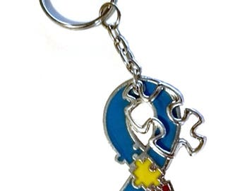 Autism Awareness Key Chain, Autism Awareness Gift, Puzzle Piece Ribbon, Autism Keychain, Autism Mom, Teacher Gift,