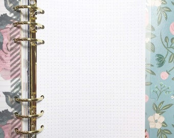 Half Letter Size Dot Grid Inserts for A5 Ringbound Planners, A5 Ring Planners, A5 Binders