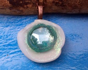 Sea Shell Necklace - Glitter Necklace - Sea Jewelry - Ocean Jewelry - Mermaid Jewelry - OOAK Jewelry