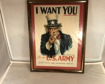 Vintage-Picture-U.S. Army-Framed-Wall Hanging-I Want you-Magazine Cover-Home Decor