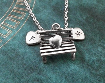 Heart Bench Necklace Valentine's Necklace Heart Necklace Engagement Gift Valentine's Jewelry Anniversary Gift Wedding Gift Couples Necklace