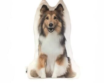 Shetland Sheepdog Shaped Dog Cushion, Add Custom Lettering, Handmade By Creature Comforts Direct, Personalised Dog Pillow, Dog Gift
