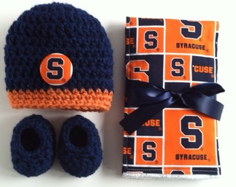 Syracuse hat, booties and burp cloth for baby, Syracuse baby gift, Crocheted hat and booties,SU diaper burp cloth, Syracuse baby shower gift