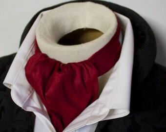 Cranberry Red Silk DAY Cravat Victorian Ascot Tie Cravat - Dupioni SILK