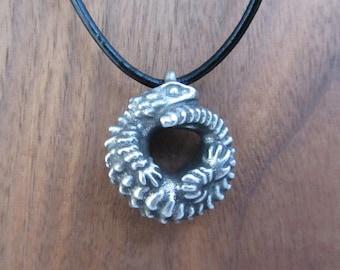 Armadillo Lizard Necklace - Armadillo Girdled Lizard Pendant, Ouroborus cataphractus