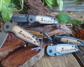 Personalized Knife,  Pocket Knife/Laser Engraved, Custom Knife, wedding knife, groomsman knife, best man knife Gift  Groom FREE SHIPPING 891