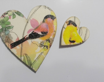 Two Hearts with Birds - Set of Two Fridge Magnets