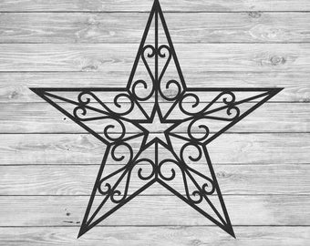 Large Wrought Iron Inspired Wall Hanging Star With Scrolls, Size 32 48,  Multiple
