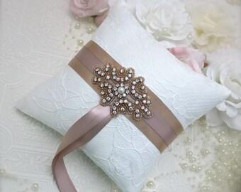 rose gold and blush ring bearer pillow, rose gold and blush wedding, rose gold flower girl basket, blush ring pillow