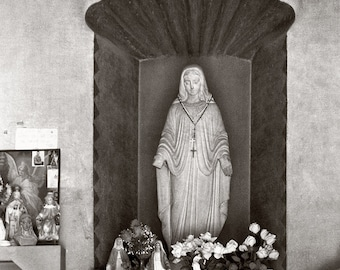 Photographic Print of a Statue of the Guadalupe Virgin in a Shrine at San Xavier Mission Church