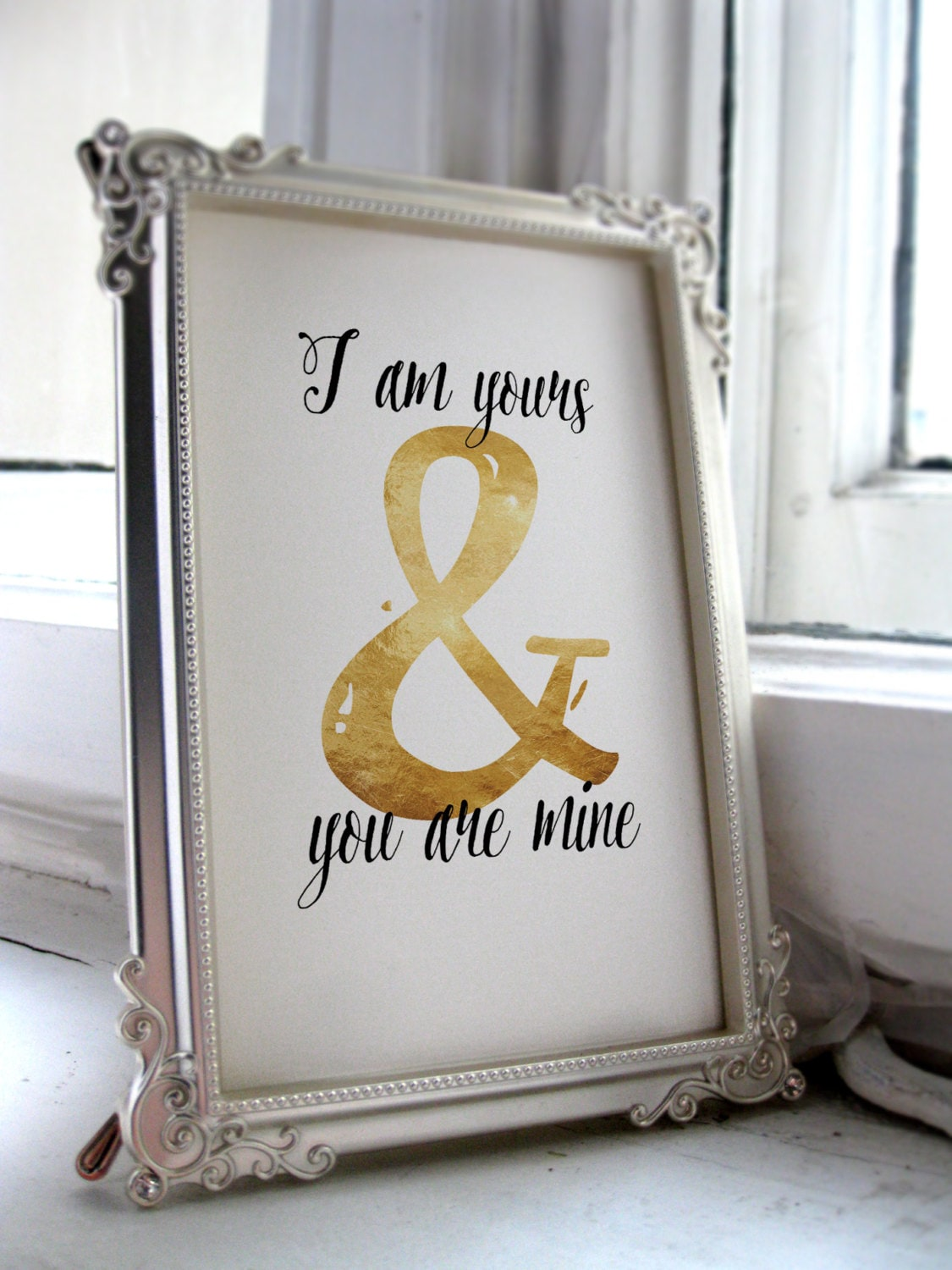 Love quotes sign wall art printable I am yours print Wedding