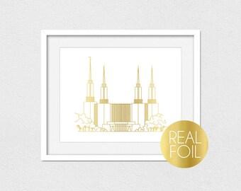Washington DC Temple Foil Print // Gold Foil // Rose Gold Foil // Silver Foil // Portrait or Landscape // LDS Temple Print