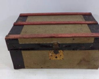 Vintage Salesman Sample Steamer Trunk Suitcase Furniture Luggage Miniature Case Doll House Toy Ship Flat Box