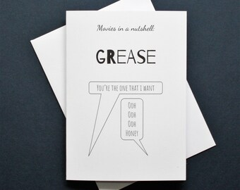 Grease card, Funny Grease card, you're the one that I want, Grease movie card, Grease film card, Grease song card,