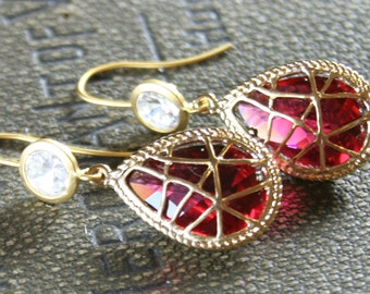 earrings -16k gold plated - ruby red