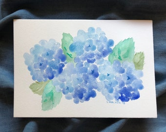 Floral Watercolor - Blue Hydrangeas