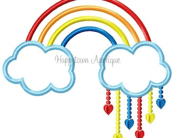 Rainbow With Hearts Machine Embroidery Design