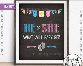 """Gender Reveal Sign, He or She What Will Baby Be Gender Reveal Party, Pink or Blue Sign, PRINTABLE 8x10"""" Chalkboard Style Instant Download"""
