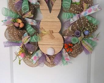 Easter Wreath, Deco Mesh Wreath, Burlap Wreath, Easter Bunny Wreath, Easter Eggs Wreath, Spring Wreath, Easter Plaid, Purple and Teal Wreath