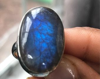 Labradorite Ring Blue Labradorite Statement Gemstone Ring 925 Sterling Silver Bezel 27 mm labradorite Ring Size 6.75 Oval Labradorite Ring