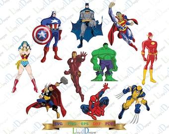 Superheroes SVG Superhero clipart super hero svg superhero svg spiderman hulk wonder woman batman svg eps dxf png files for cameo cricut