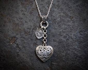 Silver Heart Pendant, Valentine's Day Jewellery, Silver Heart Necklace, Silver Filigree Hearts, Sterling Silver