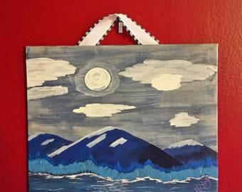 SALE!!!//Blue Evening//Mountains//Folk Art//Handpainted//Handmade//Gift//Christmas//Holiday//Acrylic//Canvas Board