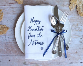 Hanukkah Napkins - LINEN Personalised Napkin, Custom Cloth Napkins, Linen Hemstitch Napkins, Celebration Napkins, Hanukkah Decorations