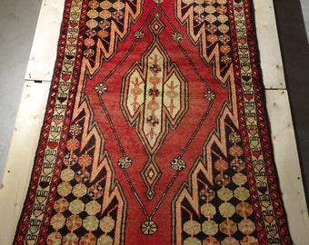 "Vintage Persian Rug 1930's HAMEDAN 3' 4"" x 4' 11"" Handmade, Hand-knotted, Natural Dyes, Bohemian, Boho Chic, Made in Iran 778m"