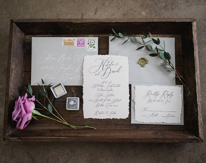 Dusty Purple & Grey Script Modern Calligraphy Wedding Invitation — Envelope Liner, RSVP, and Address Printing - Other Colors Available