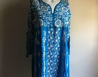 Vintage Indian Teal Silk Embroidered Tunic •  Vintage Top • Bohemian Tunic