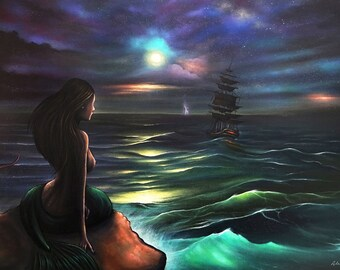 Mermaid, Seascape, Moonlight, Storm, Ship, Sky, Wall Art, Painting, Home decor, Fine Art print A3