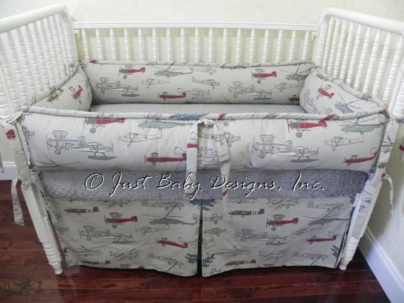 Airplane Crib Bedding Set Logan Boy Baby Bedding Airplane