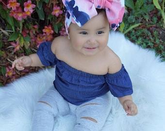 Pink Blossom, baby turban, toddler turban, baby hair bow