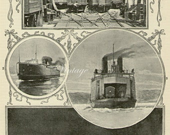 1907 Edwardian Ferry Steamers, nautical vintage print, boats ocean ship boat chart wall art vintage b/w bookplate illustration