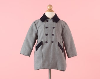 Vintage Navy Blue Hounds Tooth Velvet Collared Pea Coat (Size 2T)