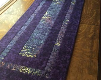 Purple table runner, Quilted table runner, purple quilted runner, batik table runner, purple batik runner